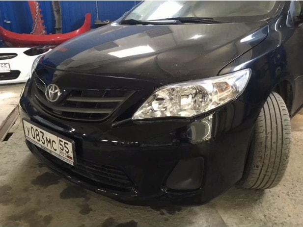 Фото бампера Toyota после восстановления и покраски