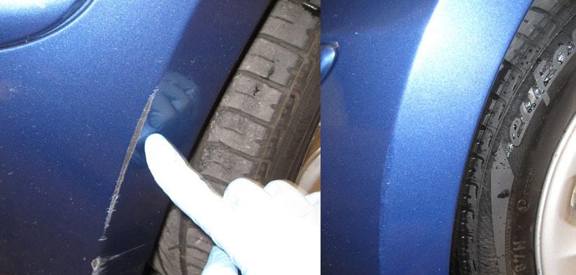 Фото примера работы до и после устранения царапины
