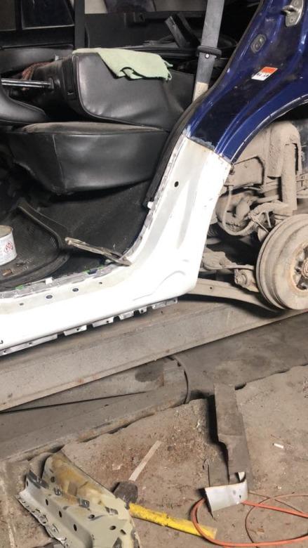 Фото процесса ремонта порога авто