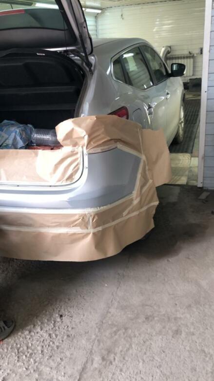 Фото покраски заднего бампера Nissan